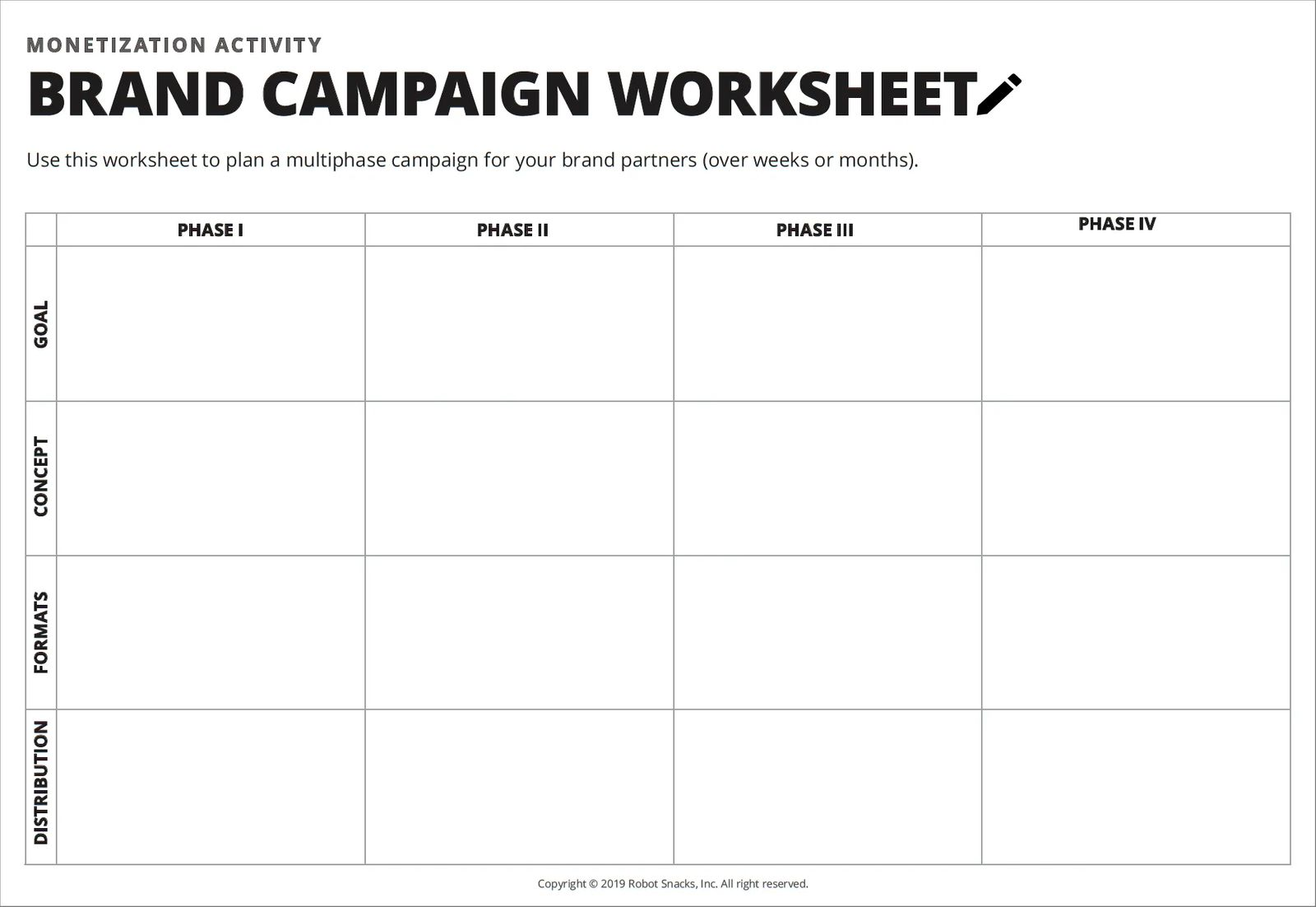 sponsored content campaign worksheet for creators